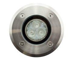Bodenleuchte LED aus Edelstahl, warm-weiß, 3 Power LEDs, 3,5W