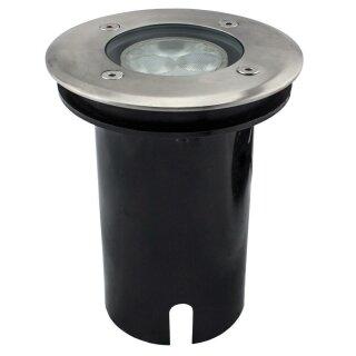 Bodenleuchte LED aus Edelstahl, 8 Farben RGB, 3 Power LEDs, 5,5W